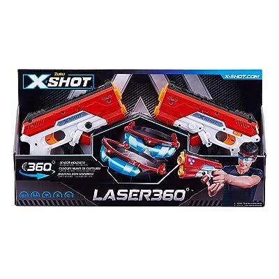 X-Shot Laser360° Double Laser Blaster Pack (2 Laser Blasters, 2 Goggles) by ZURU: Toys & Games