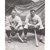 Lou Gehrig #4 and Babe Ruth #3 posed on the dugout steps circa 1932 Photo Print 11 x 14