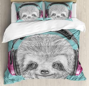Sloth Bedding Set,DJ Sloth Portrait with Headphones Funny Modern Character Cool Cute Smiling,3 Piece Duvet Cover Set Comforter Cover for Childrens/Kids/Teens/Adults,Teal Grey Fuchsia Full Size
