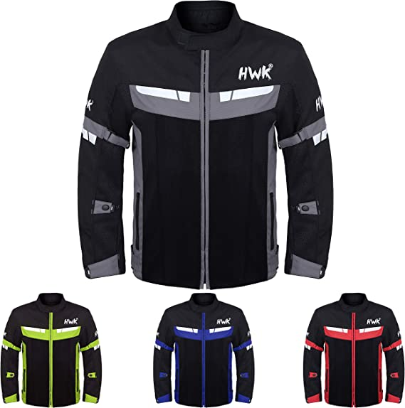 HWK Mesh Motorcycle Jacket Riding Air Motorbike Jacket Biker CE Armored Breathable (Small