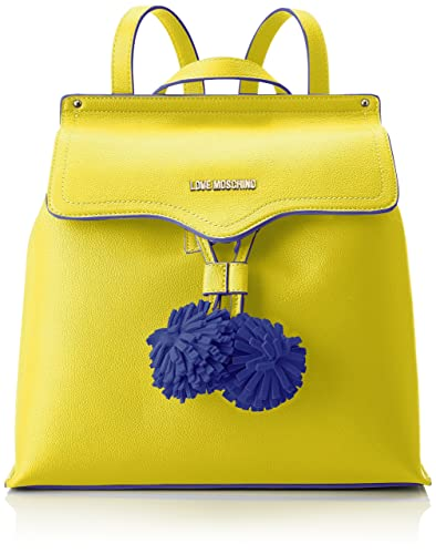 Moschino Borsa Small Grain Pu Giallo, Sacs portés dos femme, (Yellow), 15x30x32 cm (B x H T)