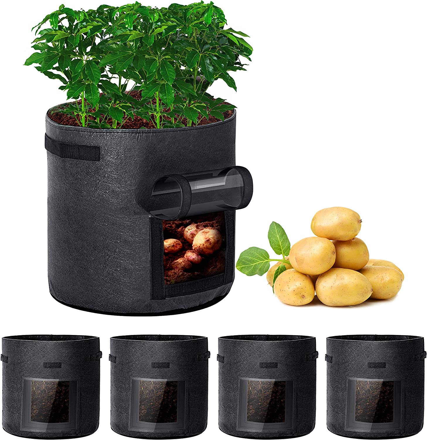 Rouffiel Potato Grow Bags, 5 Pack 7 Gallon Planting Pots with Velcro Window and Handle for Indoor & Outdoor Grow Containers for Garden, Vegetables, Tomato, Carrot, Onion, Fruit