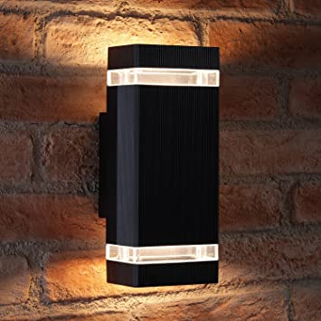 Auraglow indoor outdoor double up down wall light black warm white led