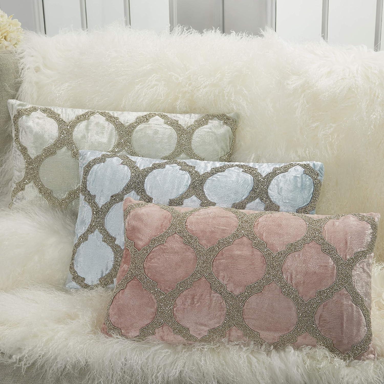 "Inspire Me Home Décor Beaded Lattice Blush Throw Pillow 12"" x 21"""