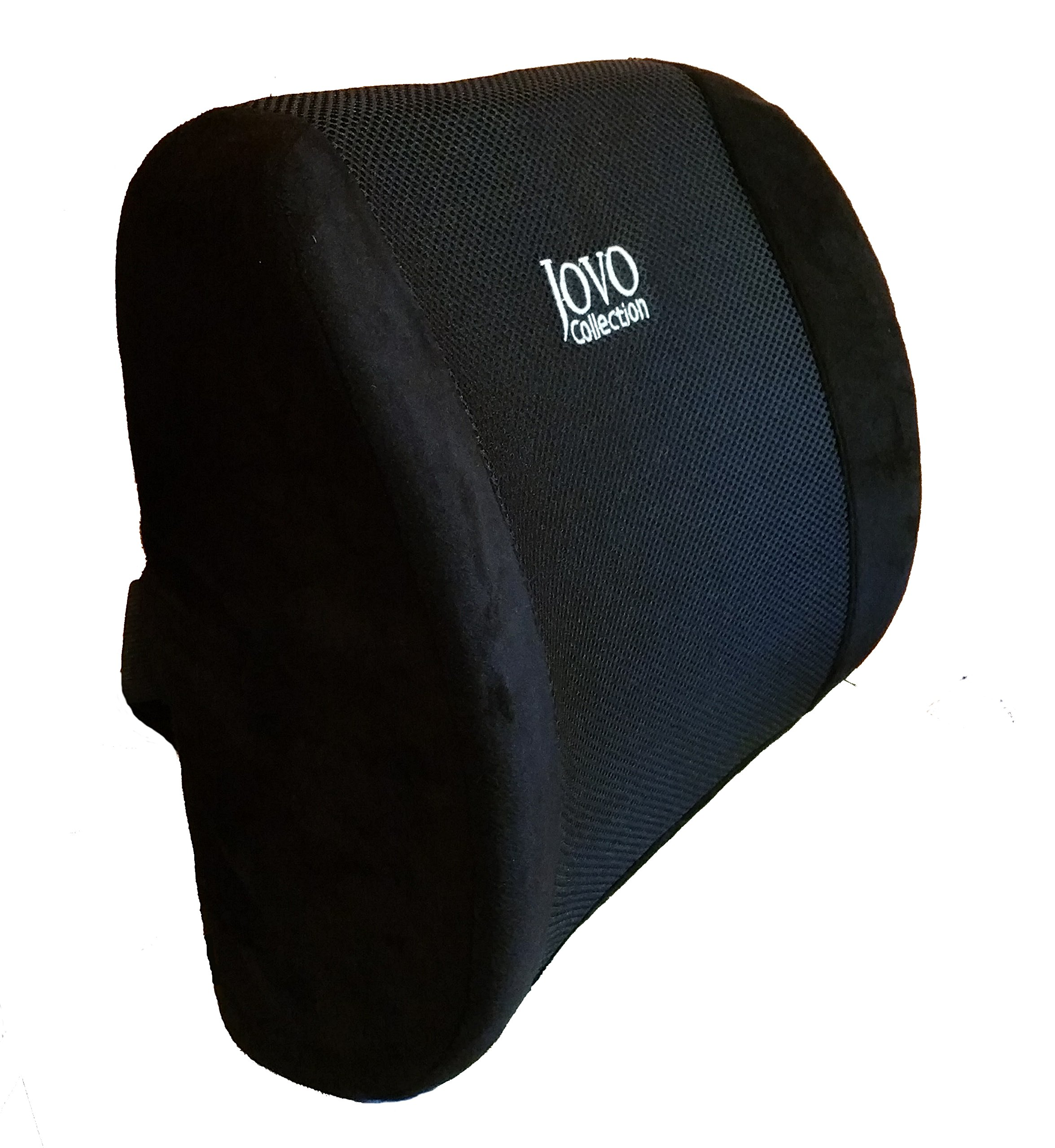 Memory Foam Lumbar Support Pillow Back Cushion Designed for Lower Back Pain Relief by Jovo Collection - Provides Maximum Back Support for Car, Home/Computer/Office Chair, Recliner - Adjustable Strap