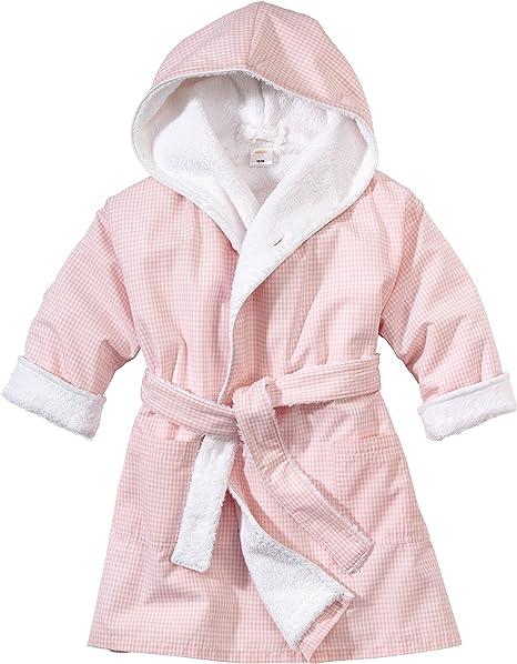 WELLYOU Bata de baño para niñas, Rosa-Blanco Cuadros Vichy, para niñas, 100% algodón. 68-122 (68-74): Amazon.es: Bebé