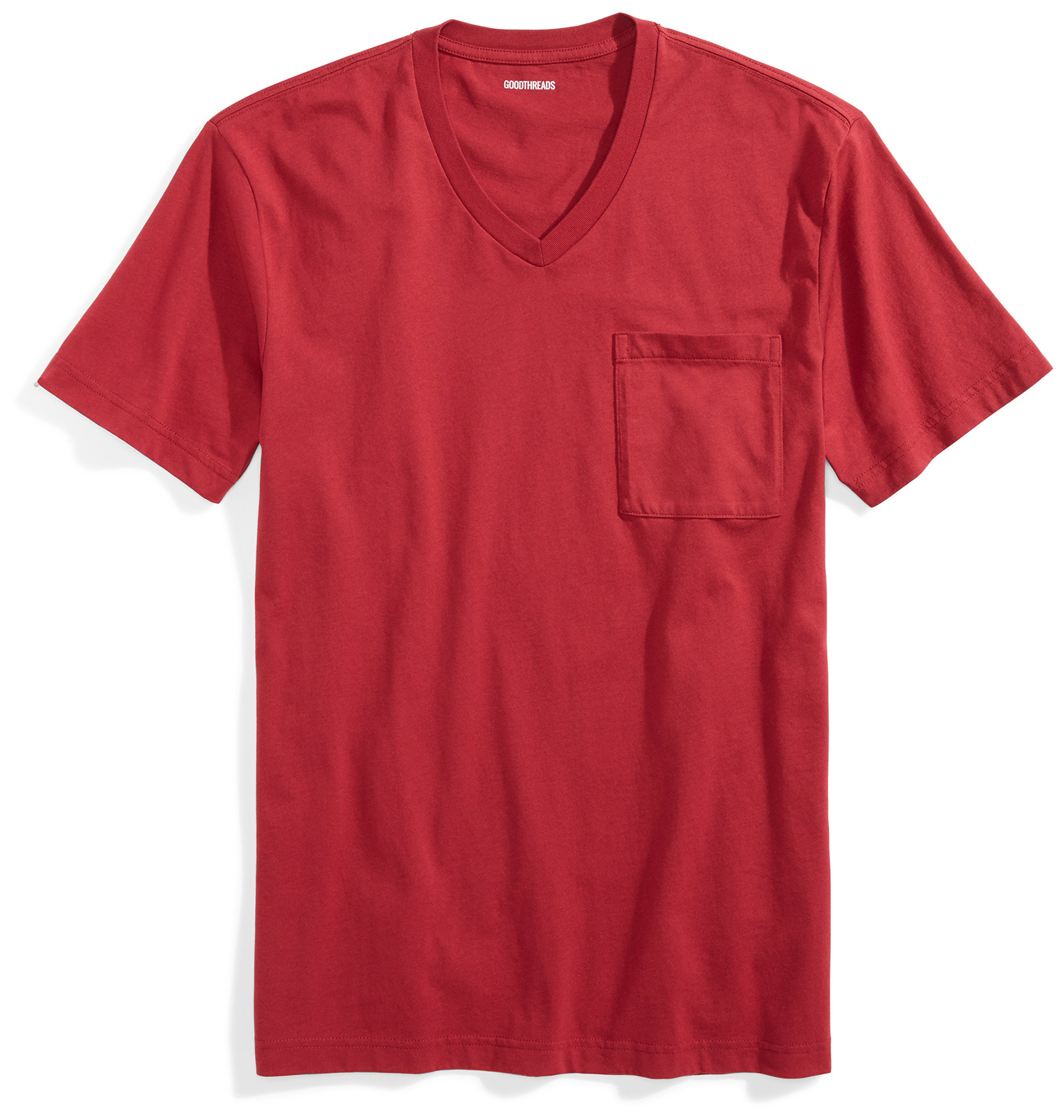 Goodthreads Men's Short-Sleeve V-Neck Cotton T-Shirt, Red, X-Large