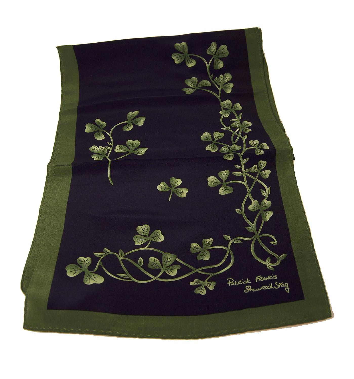 Navy & Green Shamrock Sprig Silk Scarf