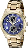 August Steiner Men's AS8173YGBU Yellow Gold Multifunction Quartz Watch with Blue Dial and Yellow Gold Bracelet