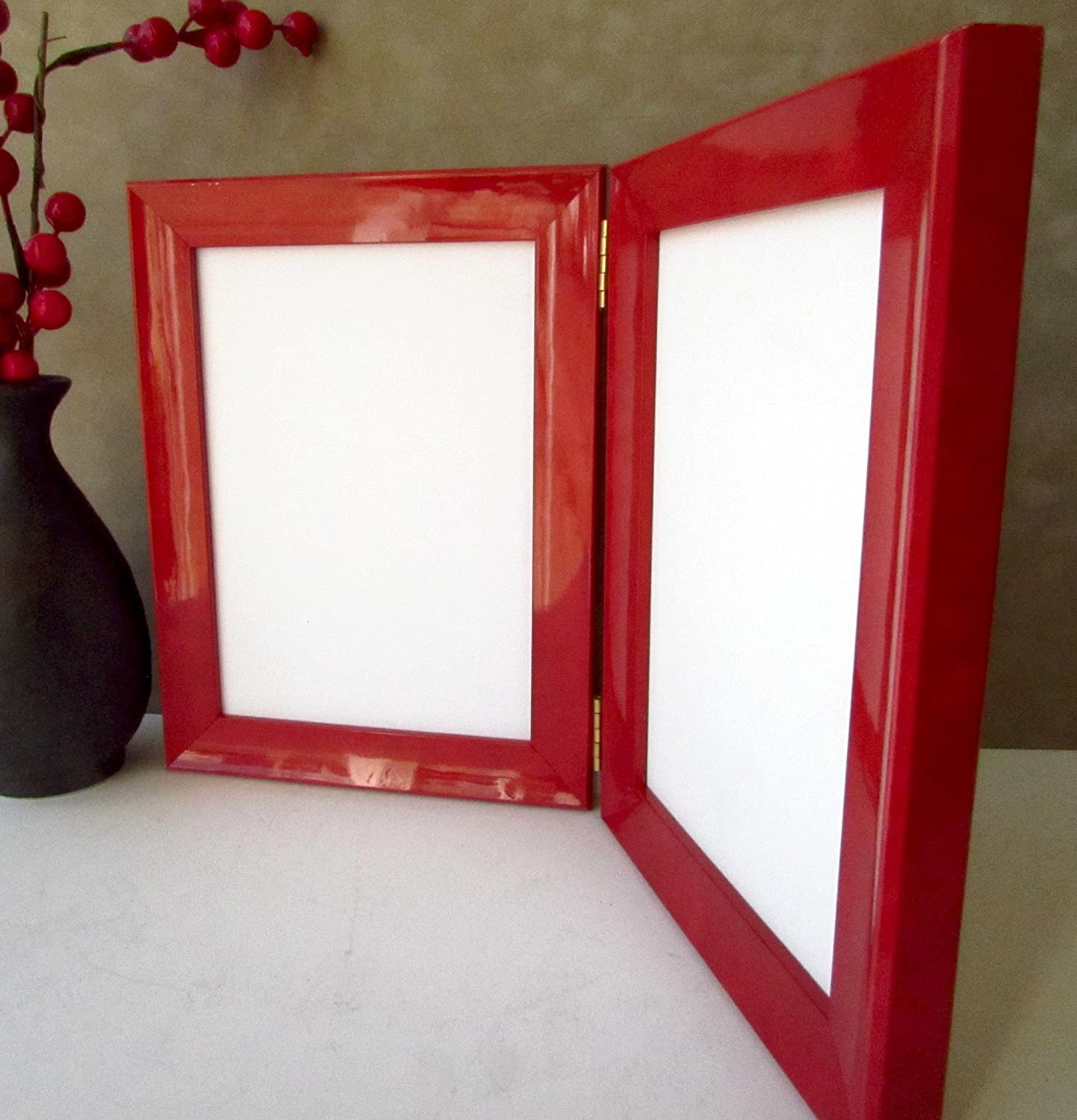 Custom Lacquer Double Picture Photo Frame Various Colours Folding Hinged Frames 5 x 7 inch