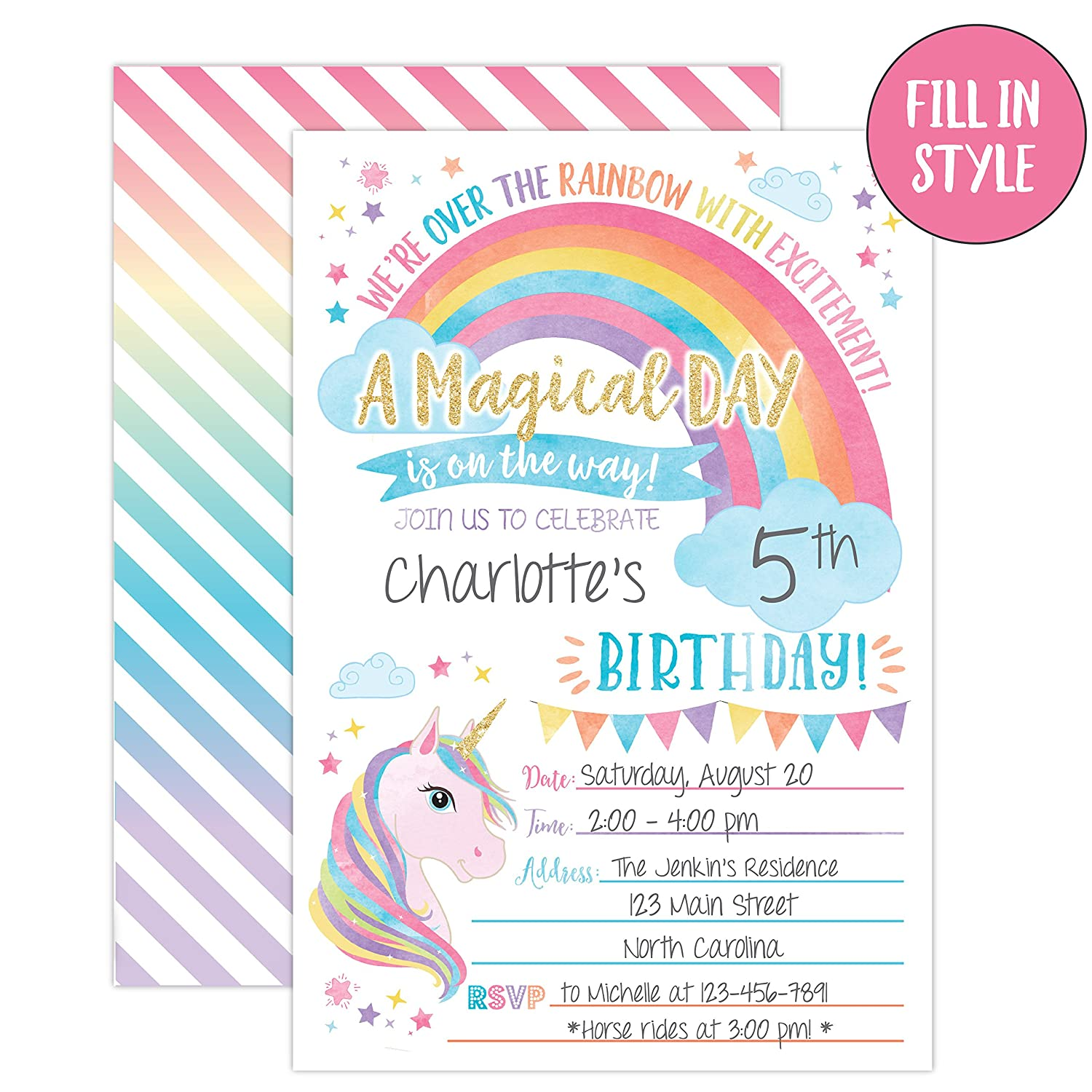 Amazon Your Main Event Prints Unicorn Birthday Invitation Party Invite 20 Fill In Style With Envelopes Toys Games