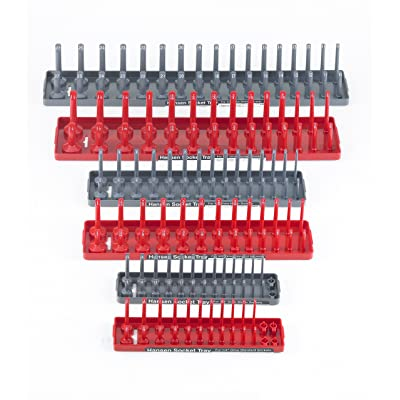 Hansen Global 92000 SAE & Metric, 2-Row Socket Tray Set - 6-Pieces, Red & Grey: Home Improvement