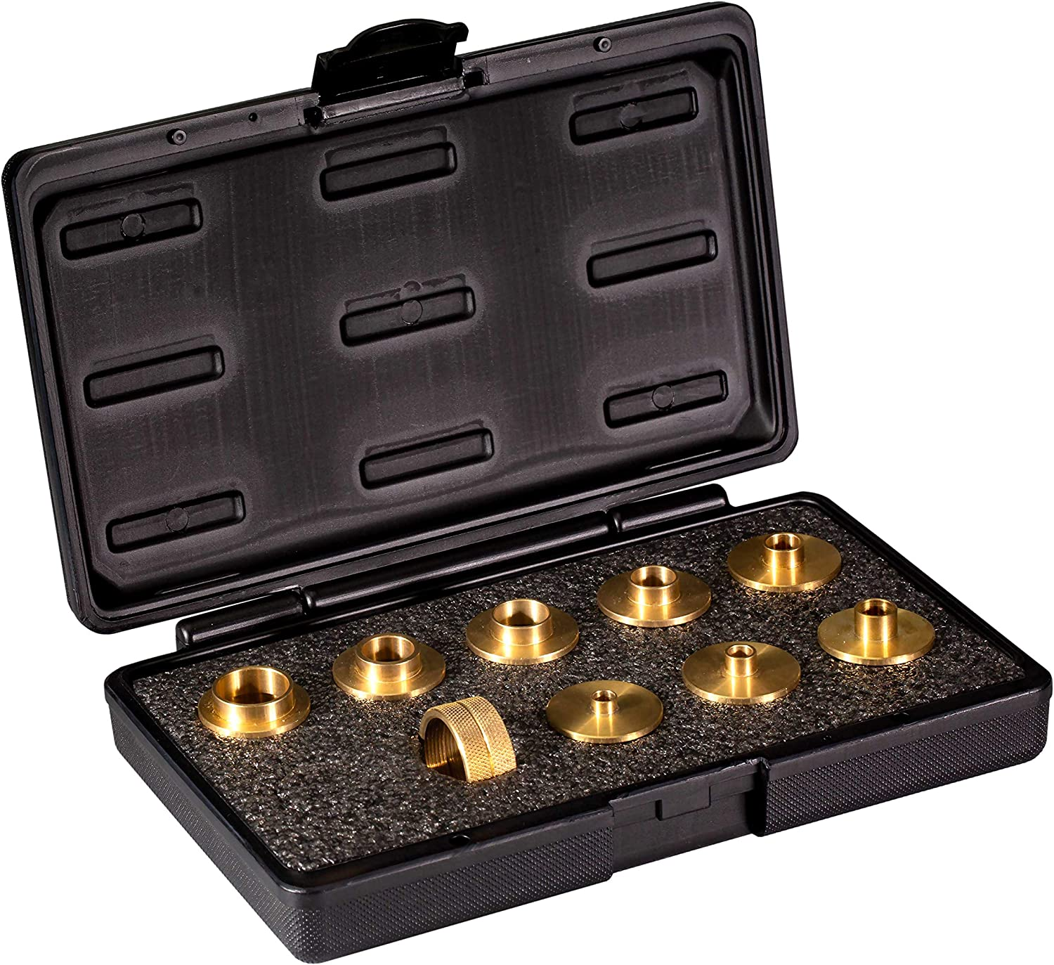 POWERTEC 71051 Router Template Guide Set | 10pc Solid Brass Guides w/Molded Carrying Case - -