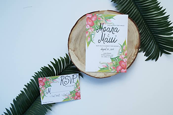 Amazon Com Tropical Wedding Invitation Suite Hawaiian Wedding