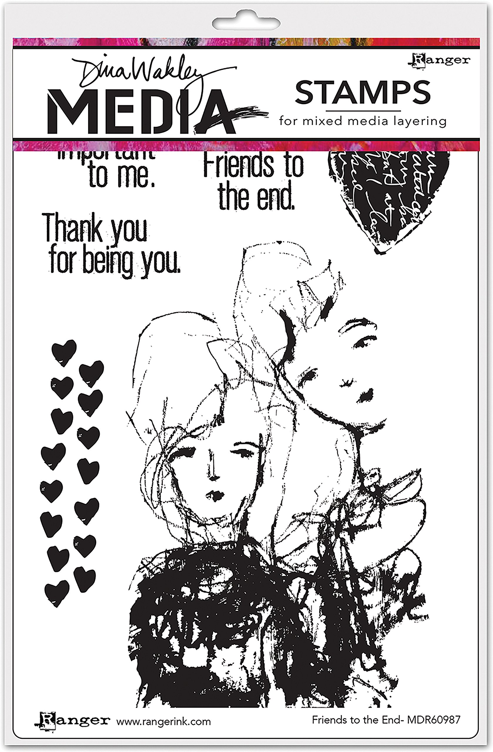 Ranger Friends to The End Dina Wakley Media Cling Stamps 6''X9''