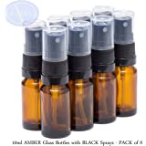 10ml AMBER Glass Bottles with BLACK Sprays - PACK of 8