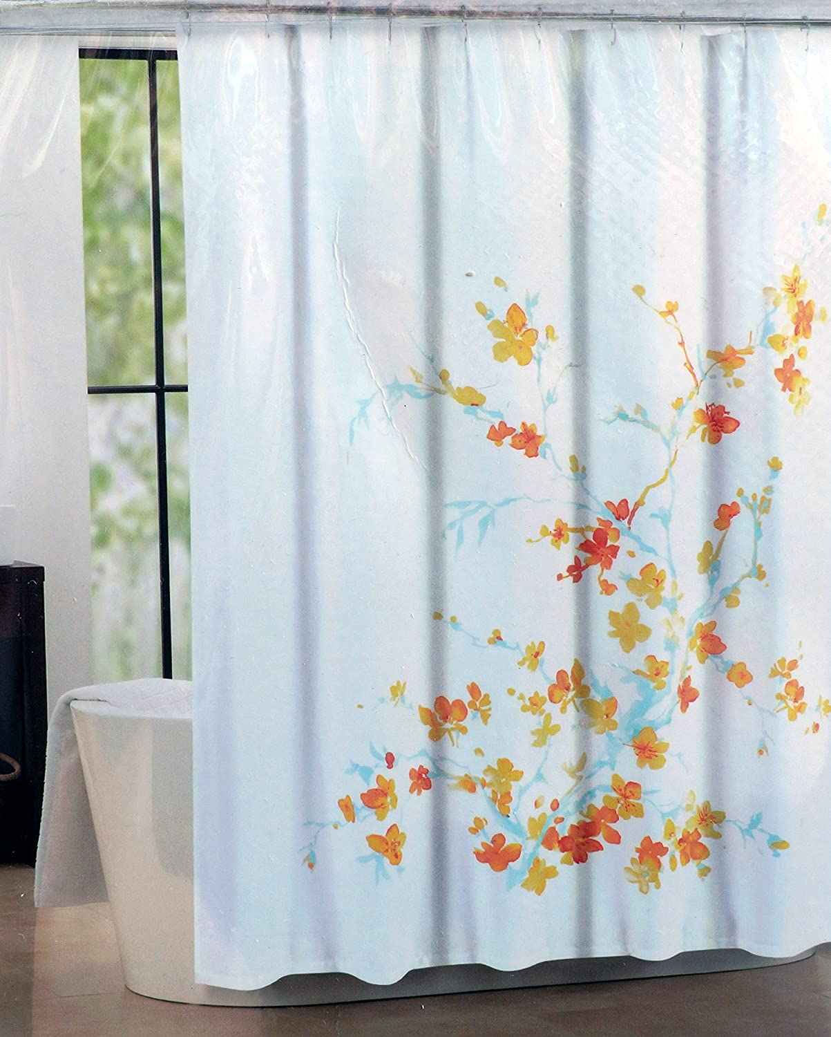 Tahari Fabric Shower Curtain Blue, Orange, Yellow Printemps by Tahari Home