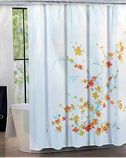 Tahari Fabric Shower Curtain Blue  Orange  Yellow Printemps by Tahari HomeAmazon com  Tahari Home Printemps White Blue Floral Fabric Shower  . Blue And Yellow Shower Curtain. Home Design Ideas