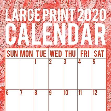 Calendario De Pared 2020: Letra Grande, 30 X 30 Cm En Inglés, 16 Meses, Incluye 180 Pegatinas Recordatorias: Amazon.es: Oficina y papelería