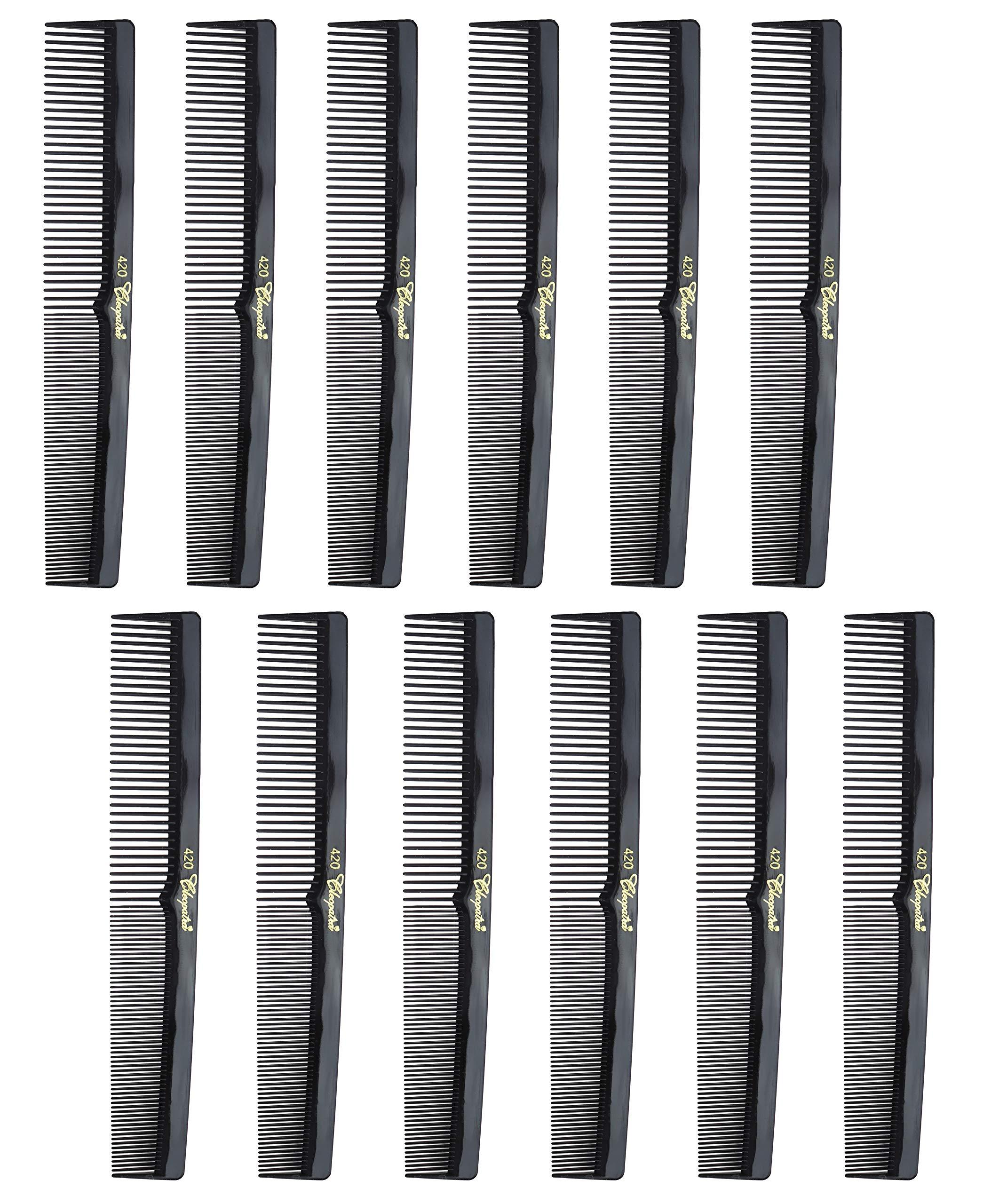Barber Cleopatra 420 7″ Flat Square Back Hair Comb (12 Pack) 12 x SB-C420-BLK