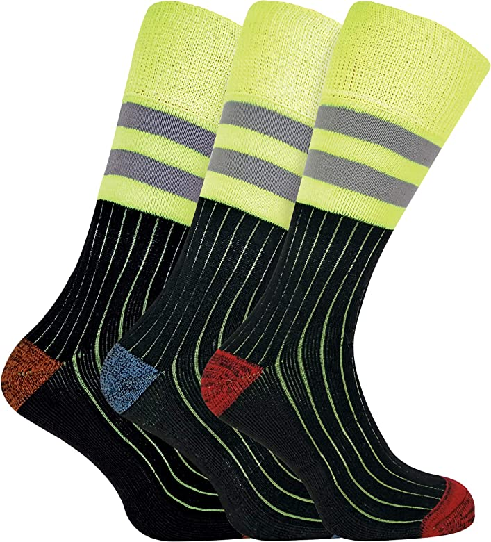 Workforce 3 Pack Mens Reinforced Heel and Toe Work Socks for Steel Toe Boots