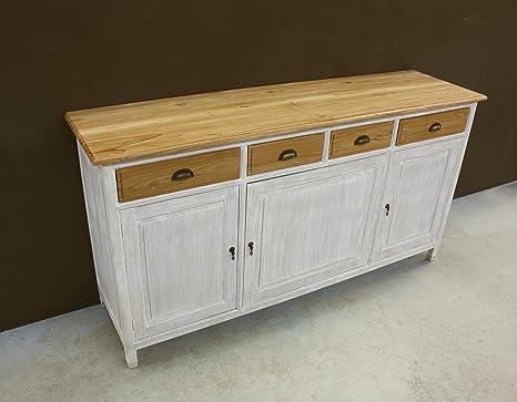 Credenza Cucina Con Piano Di Lavoro : Buffet credenza legno teak massello stile shabby con piano naturale