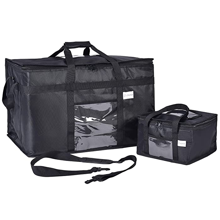 Insulated Food Delivery Bag 2-Pack - with Hardboard Bottom, Heavy Duty Zipper & Shoulder Strap - XXL 23