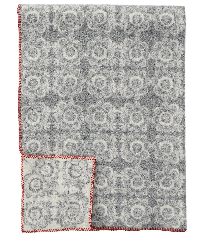 Klippan  Creme-hellgraue Jacquard Wolldecke 'Kurbits' aus Lammwolle 130x180cm umkettelt - ca 1,2kg u. 3 mm dick