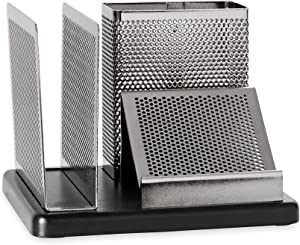 Rolodex Punched Metal and Wood Desk Organizer, Black and Gunmetal (E23552)