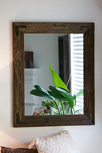 rustic wall mirrors leaning rustic wall mirror large 24 30 vanity bathroom amazoncom