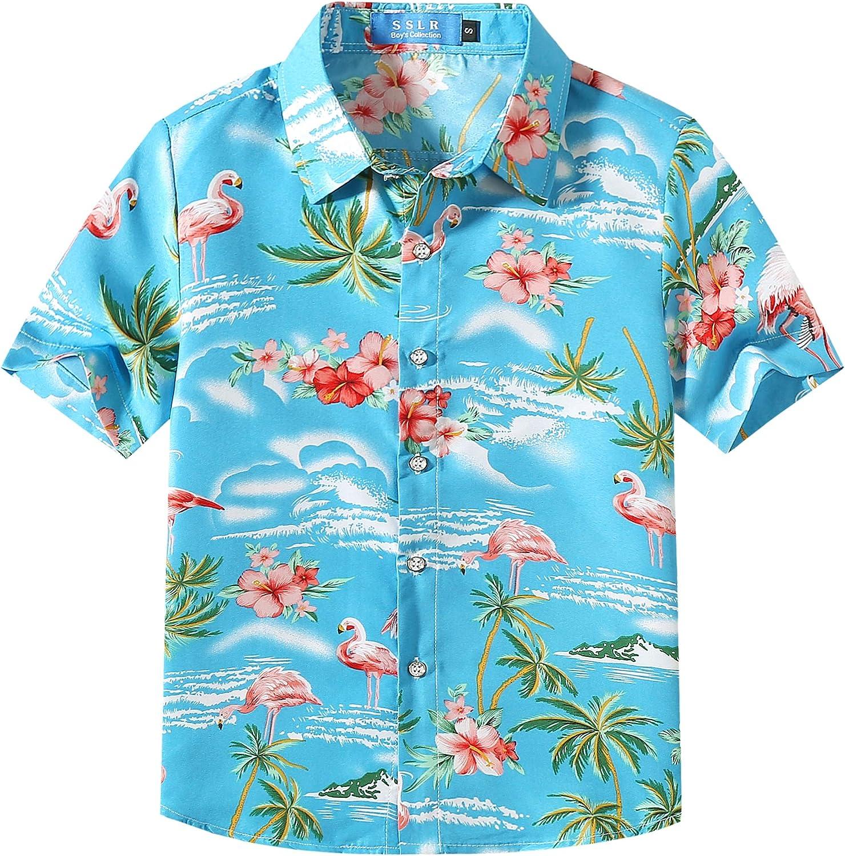 SSLR Camisa Manga Corta con Estampado de Flamencos y Flores Estilo Hawaiana para Niño: Amazon.es: Ropa y accesorios