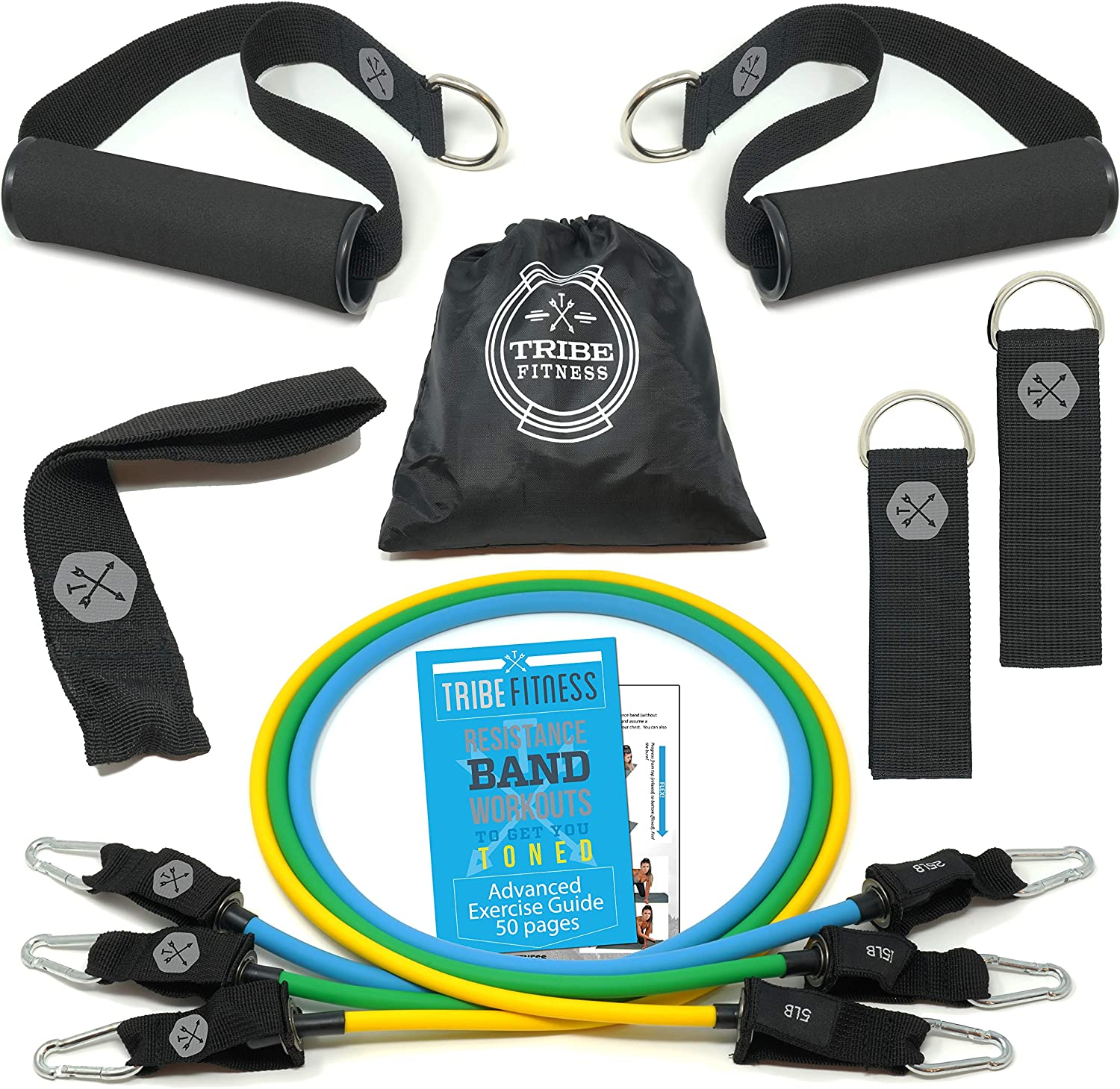 TRIBE PREMIUM Resistance Bands Set for Exercise, Workout Bands for Men with Fitness Tension Bands, Handles, Door Anchor, Ankle Straps, Carry Bag & Advanced eBook - Strength Training, Home Gym & More!!