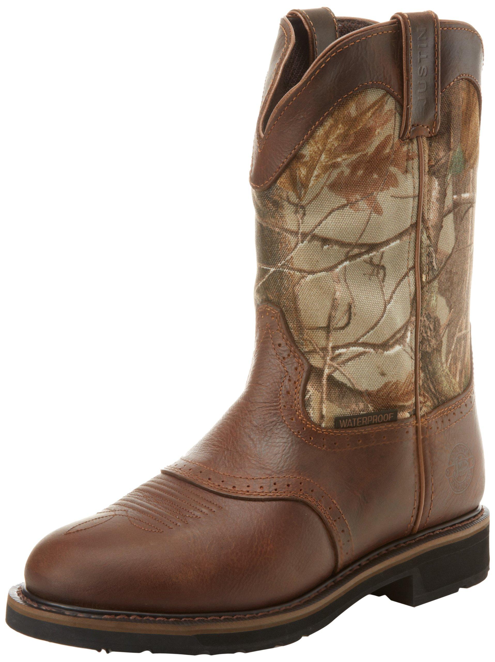 Justin Original Work Boots Men's Stampede Camo WaterProof Wk Work Boot,Rugged Tan/Real Tree Camo,8.5 D US