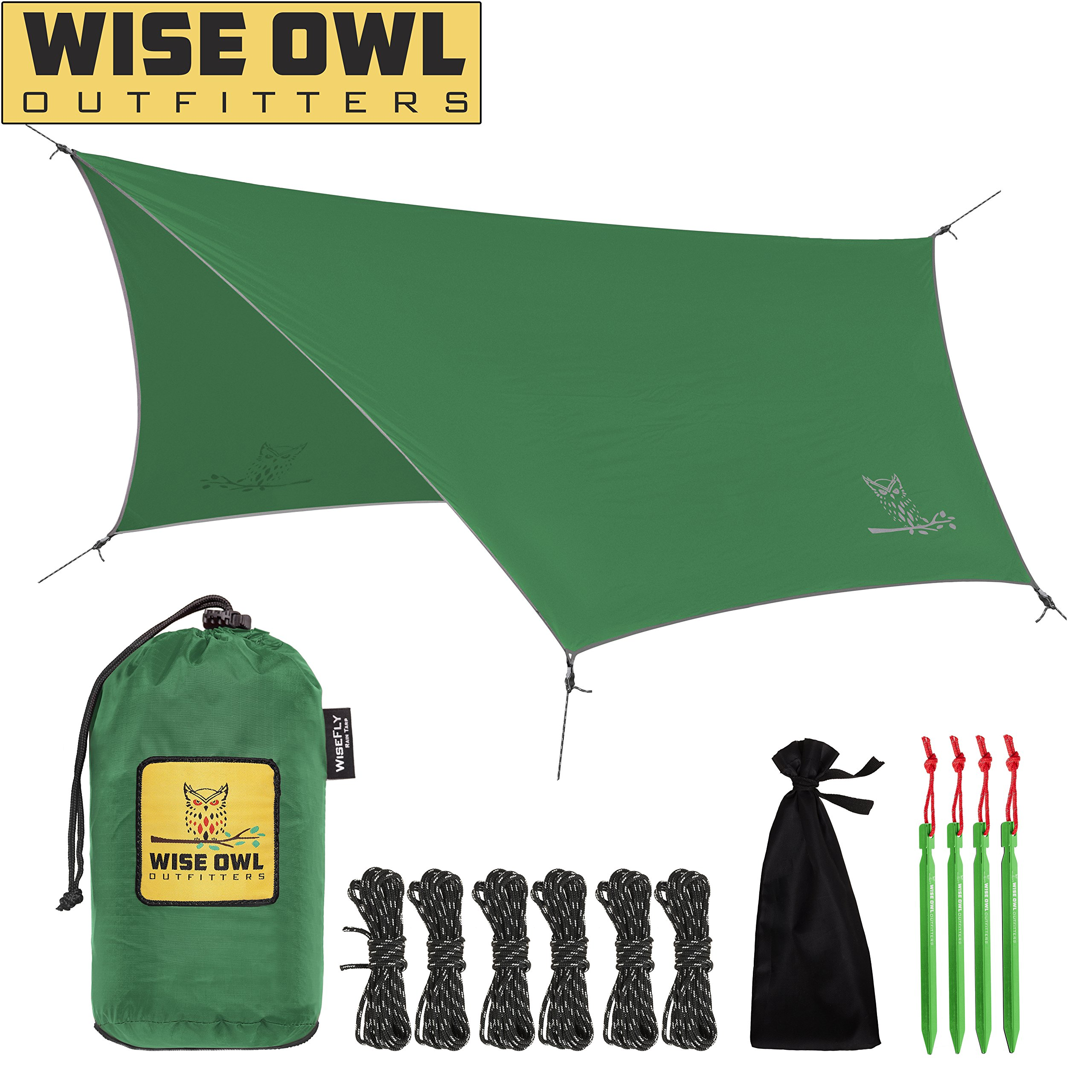 Wise Owl Outfitters Rain Fly Tarp - The WiseFly Premium 11 x 9 ft Waterproof Camping Shelter Canopy - Lightweight Easy Setup for Hammock or Tent Camp Gear - Green by Wise Owl Outfitters
