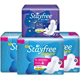 Stayfree Secure XL Ultra Thin Sanitary Napkins with Wings, Extra Large (30 Count) with Dry Max All Night Sanitary Napkin XL (7 Count)