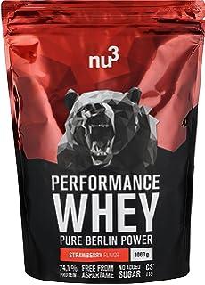 nu3 Performance Whey Protein | 1kg de suero en polvo sabor fresa con 74.1% de