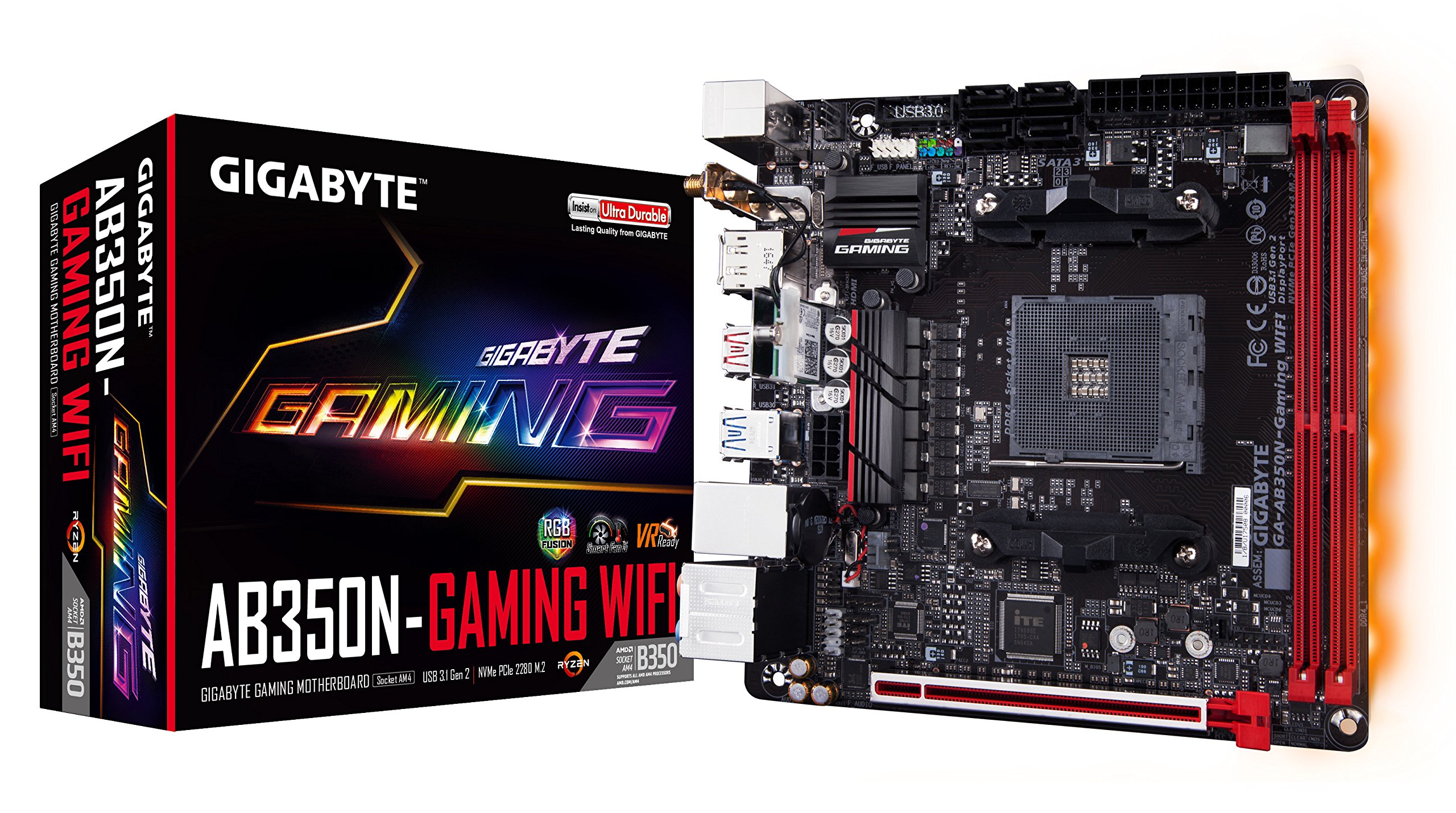 GIGABYTE GA-AB350N-Gaming WIFI (AMD/Ryzen AM4/B350/RGB Fusion/HDMI/DP/M.2/SATA/USB 3.1 Type-A/Wifi/Mini ITX/DDR4 Motherboard) by Gigabyte