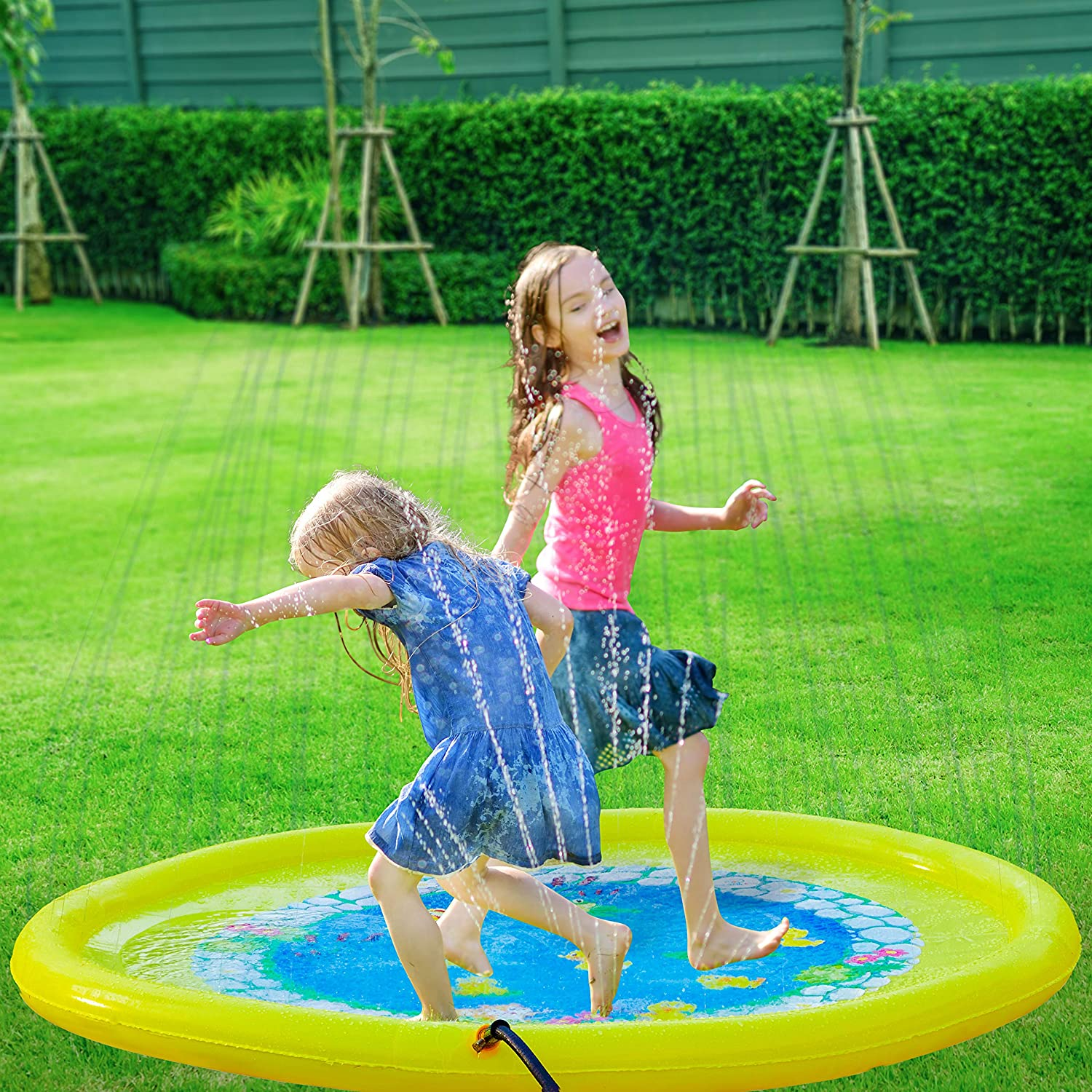 "Splashin'kids 68"" Sprinkle and Splash Play Mat Pad Toy for Children Infants Toddlers,Boys, Girls and Kids - Perfect Inflatable Outdoor Sprinkler pad best summer water toy"