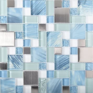Sea Blue Green Glass Stainless Steel Tile White Kitchen Bath ...