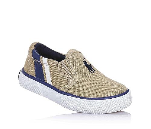 POLO RALPH LAUREN - Zapato beige de tejido, con insertos laterales elásticos, logo cosido en la parte anterior, Niño, Niños-26: MainApps: Amazon.es: Zapatos ...