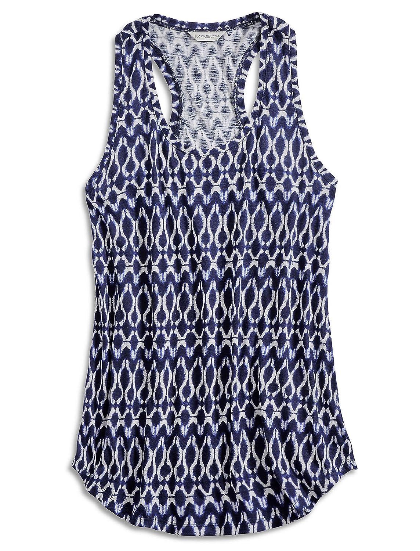 Lucky Brand - Blue Shibori Ink Geometric Batik Knit Tank Top