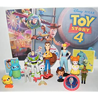 Playful Toys Toy Story 4 Movie Deluxe Figure Set of 13 Toy Kit with ToyRing, Special Stickers and 10 Figures Featuring Original and All New Characters Like Forky, Duke Caboom and More!