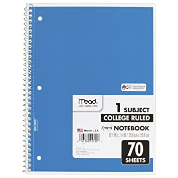 Amazon.com : Mead Spiral Notebook, College Ruled, 1 Subject, 70 ...