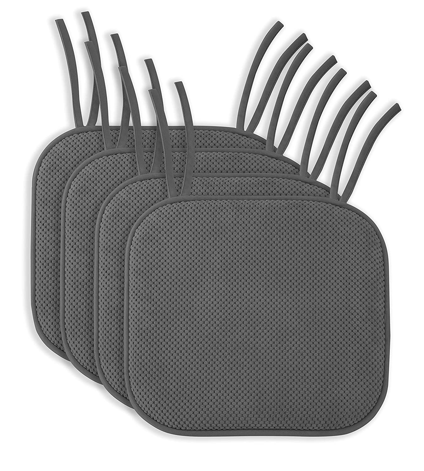 "4 Pack: Ellington Home Non Slip Memory Foam Seat Cushion Chair Pads with Ties - 17"" x 16"" - Grey"