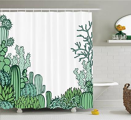 Ambesonne Cactus Decor Shower Curtain, Arizona Desert Themed Doodle Cactus  Staghorn Buckhorn Ocotillo, Fabric