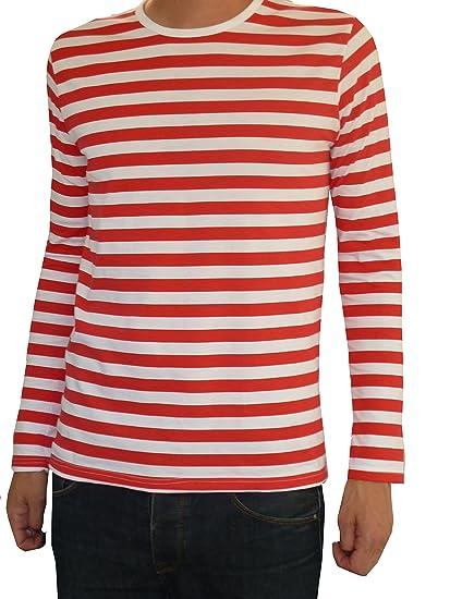 Fuzzdandy Hommes Rouge et Blanc Manches Longues à Rayures Mode Indie Breton  Haut T-Shirt f185dbd31930