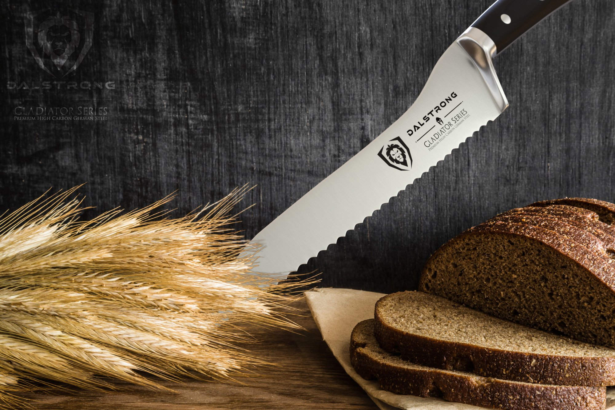 DALSTRONG Serrated Offset Bread & Deli Knife - Gladiator Series- 8''- German HC Steel - Guard Included by Dalstrong (Image #6)