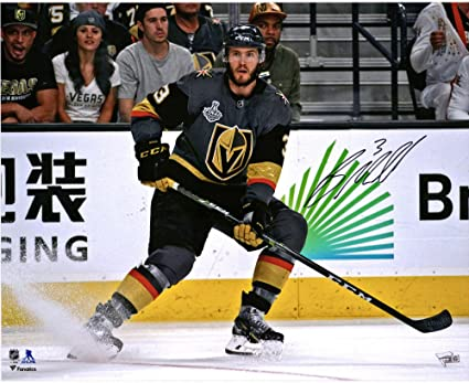 95f7017a6 Brayden McNabb Vegas Golden Knights Autographed 16 quot  x 20 quot  Black  Jersey Stopping Photograph -