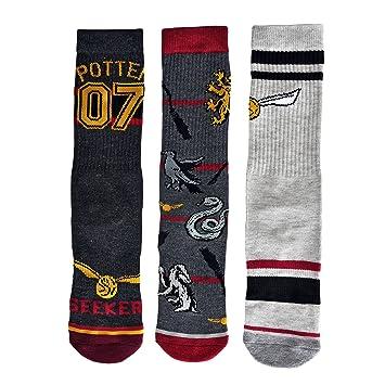 Harry Potter calcetines medias conjunto de 3 Quidditch 41-45 rojo gris