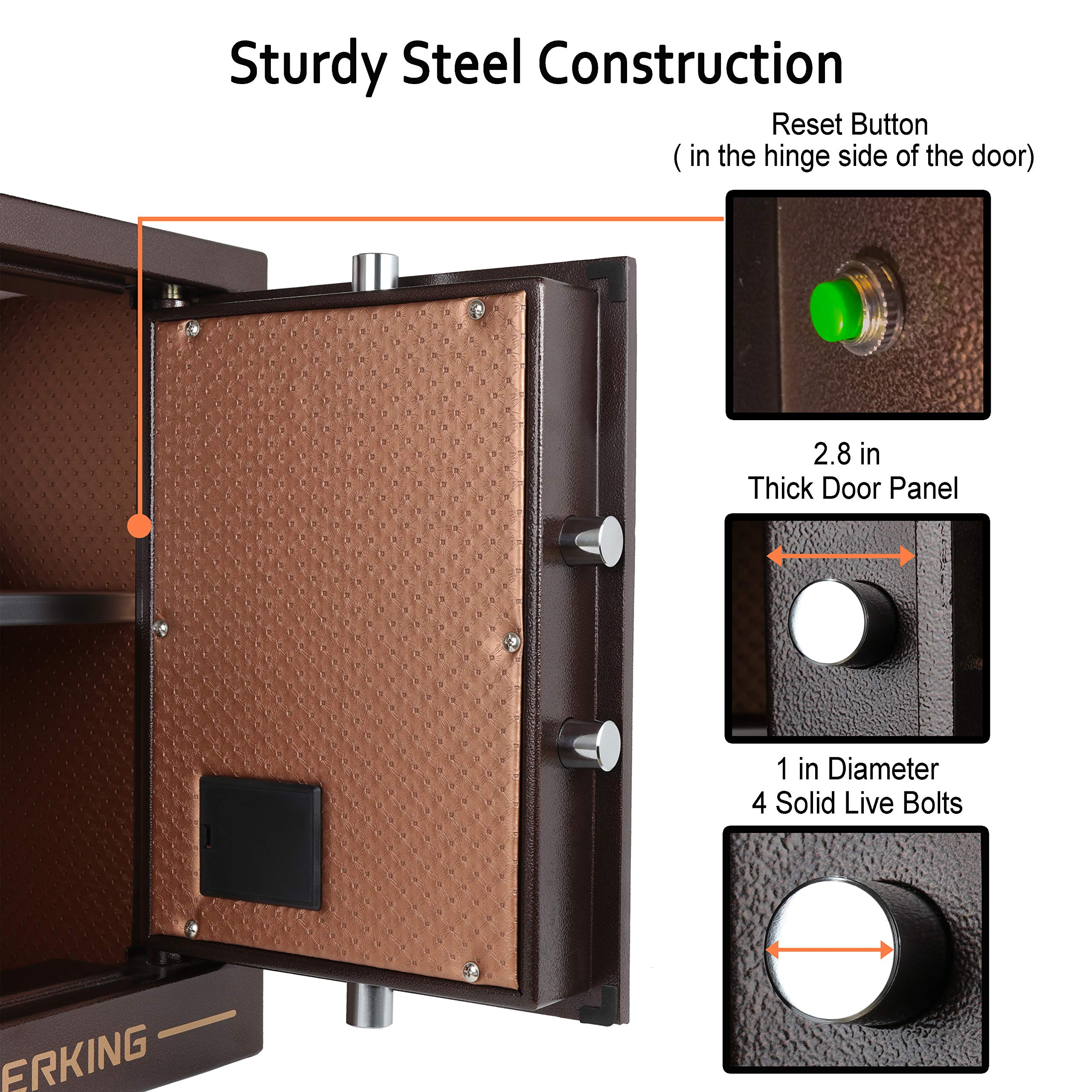 Digital Security Safe Box Solid Alloy Steel Construction with 4  Live-Locking Bolts Password Plus Key Setting for Home Office Hotel 1  34  Cubic Feet By